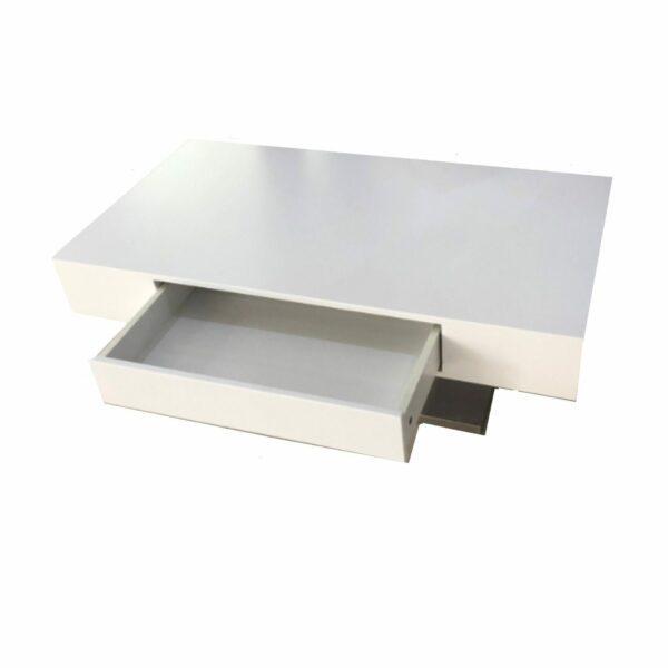 """Trendstore """"Malia"""" Couchtisch mit Tischplatte und Gestell aus MDF weiß matt und Bodenplatte in Edelstahl mit geöffneter Schubkasten"""