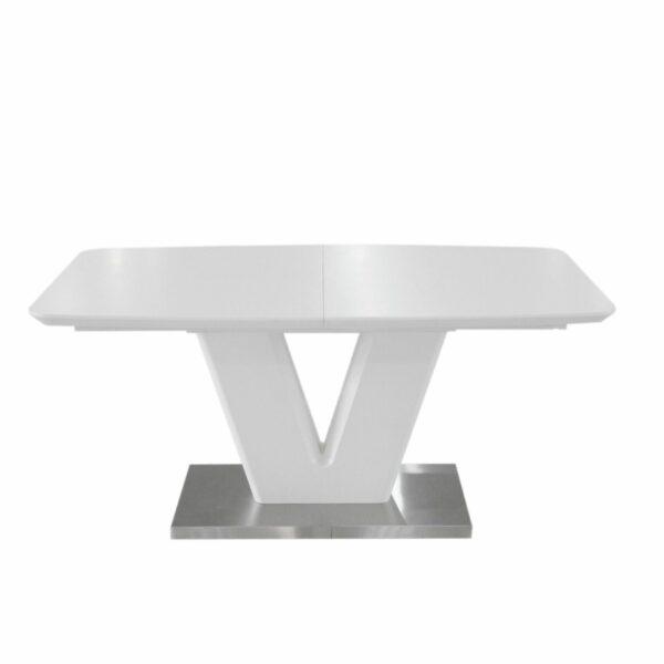 """Trendstore """"Mallrino"""" Esstisch mit Tischplatte und Gestell aus MDF weiß matt und Bodenplatte aus Edelstahl"""