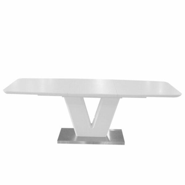 """Trendstore """"Mallrino"""" Esstisch mit Tischplatte und Gestell aus MDF weiß matt und Bodenplatte aus Edelstahl mit Einlegeplatte"""