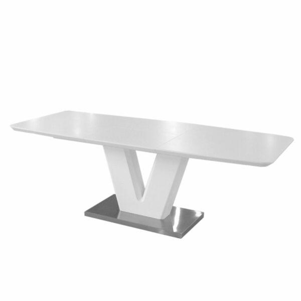 """Trendstore """"Mallrino"""" Esstisch mit Tischplatte und Gestell aus MDF weiß matt und Bodenplatte aus Edelstahl mit Einlegeplatte Seitenansicht"""