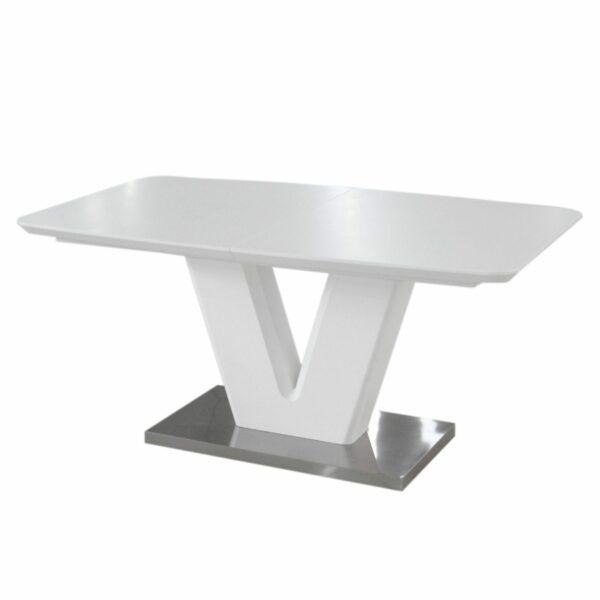 """Trendstore """"Mallrino"""" Esstisch mit Tischplatte und Gestell aus MDF weiß matt und Bodenplatte aus Edelstahl Seitenansicht"""