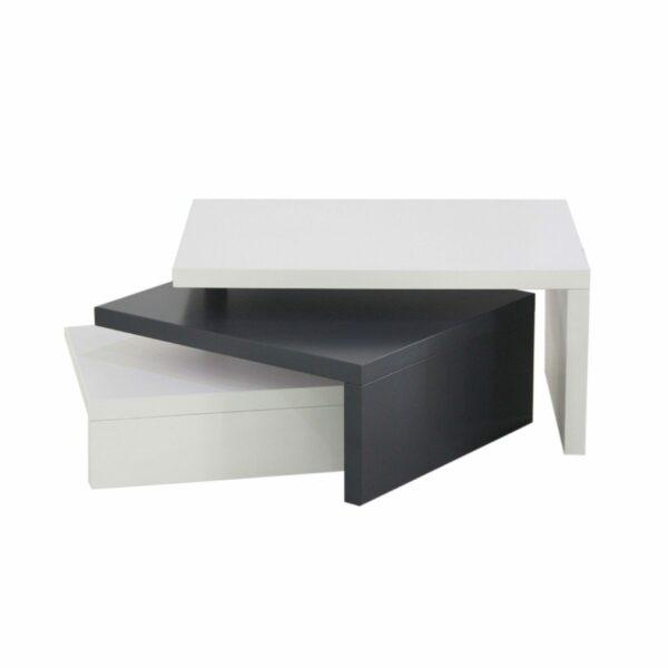 """Trendstore """"Malou"""" Couchtisch mit Drehfunktion und Stopper Tischplatte und Gestell aus MDF weiß matt und dunkelgrau matt"""