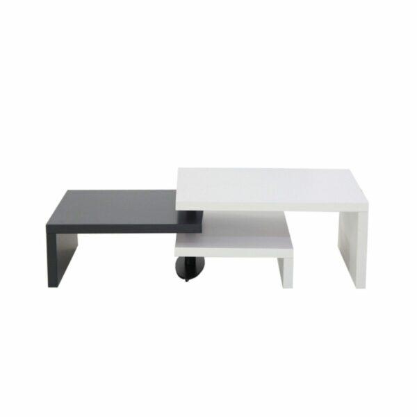 """Trendstore """"Malou"""" Couchtisch mit Drehfunktion und Stopper Tischplatte und Gestell aus MDF weiß matt und dunkelgrau matt Ansicht gesamte Tischlänge"""
