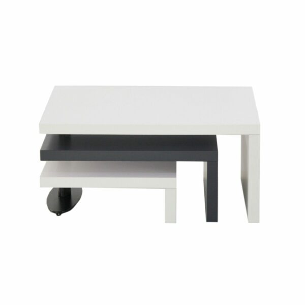 """Trendstore """"Malou"""" Couchtisch mit Drehfunktion und Stopper Tischplatte und Gestell aus MDF weiß matt und dunkelgrau matt Frontansicht"""