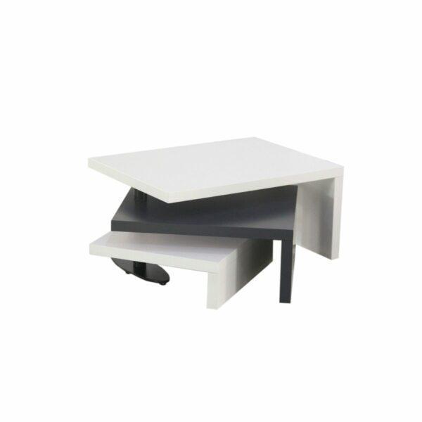 """Trendstore """"Malou"""" Couchtisch mit Drehfunktion und Stopper Tischplatte und Gestell aus MDF weiß matt und dunkelgrau matt Variante Drehfunktion"""