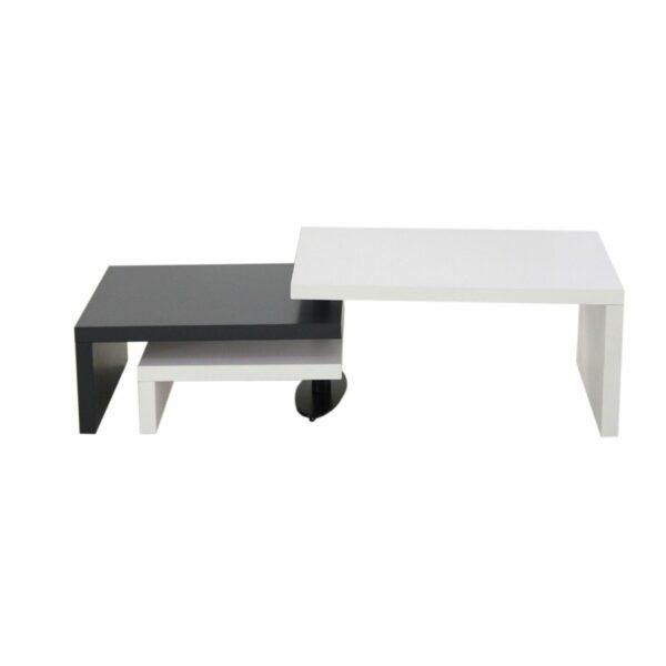 """Trendstore """"Malou"""" Couchtisch mit Drehfunktion und Stopper Tischplatte und Gestell aus MDF weiß matt und dunkelgrau matt Variante Tischdrehfunktion"""