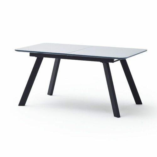 """Trendstore """"Maws"""" Esstisch mit Tischplatte aus MDF und Glas und Gestell aus Kantrohr schwarz matt"""