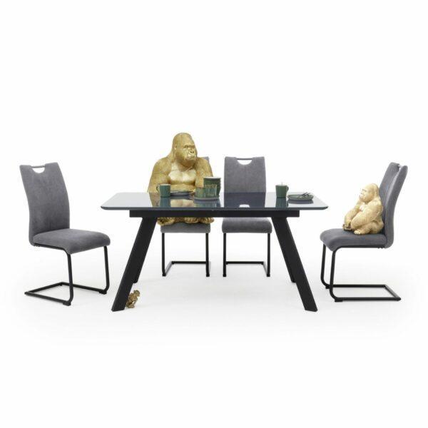 """Trendstore """"Maws"""" Esstisch mit Tischplatte aus MDF und Glas und Gestell aus Kantrohr schwarz matt Wohnbeispiel"""