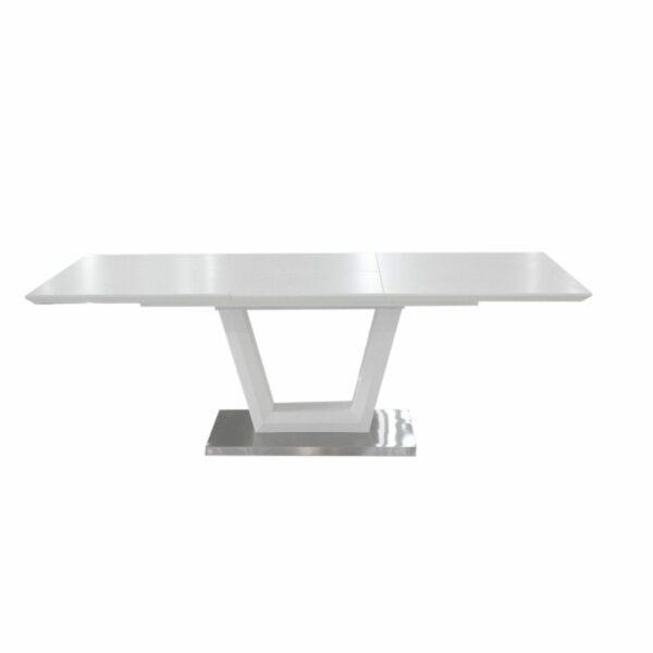 """Trendstore """"Merrit"""" Esstisch mit Tischplatte und Gestell aus MDF weiß und Glas und Gestell aus Edelstahl gebürstet mit Einlegeplatte"""