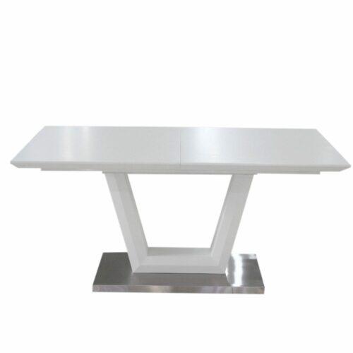 """Trendstore """"Merrit"""" Esstisch mit Tischplatte und Gestell aus MDF weiß matt und Glas und Bodenplatte aus Edelstahl gebürstet"""