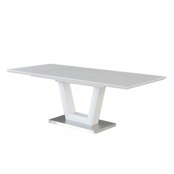"""Trendstore """"Merrit"""" Esstisch mit Tischplatte und Gestell aus MDF weiß und Glas und Gestell aus Edelstahl gebürstet mit Einlegeplatte Seitenansicht"""