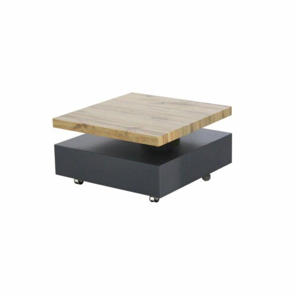"""Trendstore """"Meve"""" Couchtisch drehbar mit Tischplatte aus MDF Wotan Eiche Dekor und Gestell aus MDF dunkelgrau matt auf Rollen mit Schublade"""