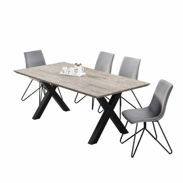 """Trendstore """"Maws"""" Esstisch mit Tischplatte aus MDF in Holzdekor und Gestell aus Metall schwarz pulverbeschichtet Wohnbeispiel"""