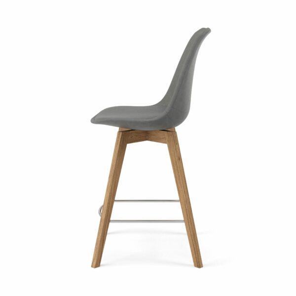 """Trendstore """"C-Bar"""" Stuhl - Sitz und Polsterung grau, Gestell Eiche, Seitenansicht"""