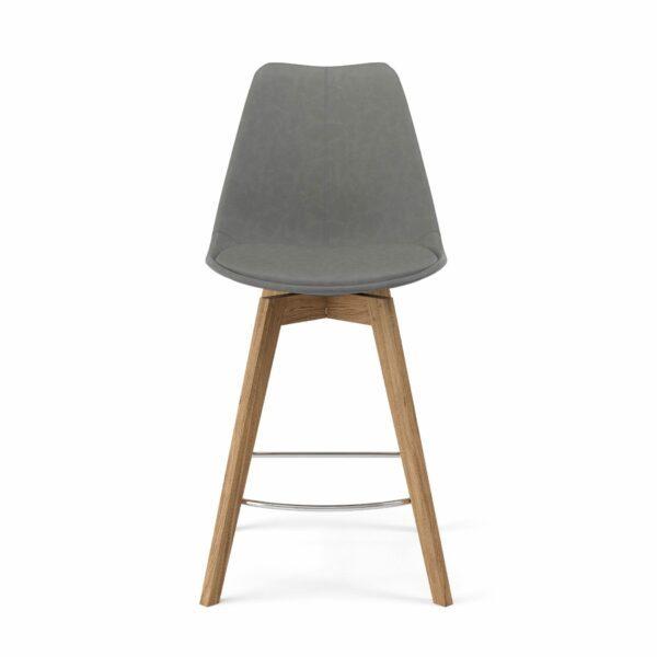 """Trendstore """"C-Bar"""" Stuhl - Sitz und Polsterung grau, Gestell Eiche, Vorderansicht"""