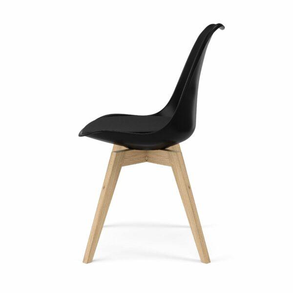 """Trendstore """"C-Bar"""" Stuhl - Sitz und Polsterung schwarz, Gestell Eiche, Seitenansicht"""