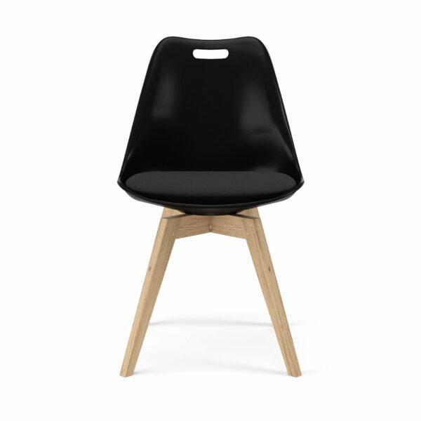 """Trendstore """"C-Bar"""" Stuhl - Sitz und Polsterung schwarz, Gestell Eiche, Vorderansicht"""