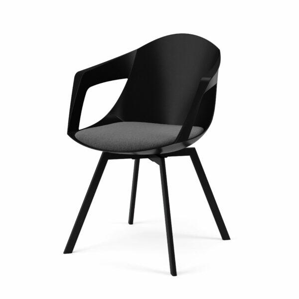 """Trendstore """"C-Bar"""" Stuhl - Sitz schwarz, Polsterung grau, Gestell Eiche"""