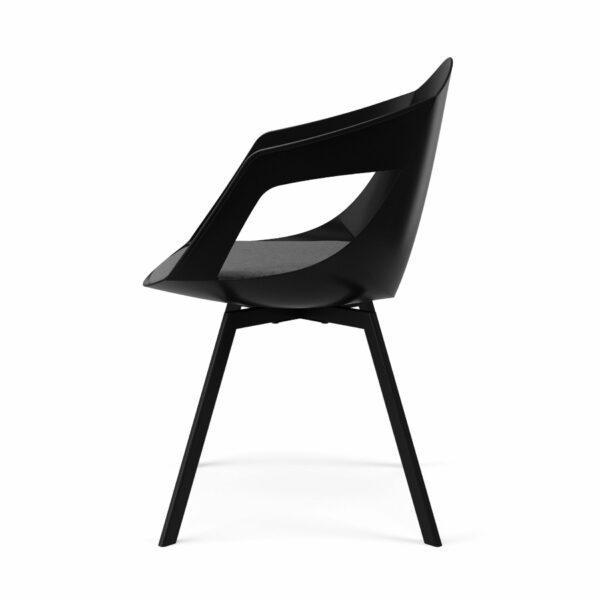 """Trendstore """"C-Bar"""" Stuhl - Sitz schwarz, Polsterung grau, Gestell Eiche, Seitenansicht"""