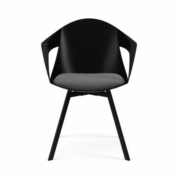 """Trendstore """"C-Bar"""" Stuhl - Sitz schwarz, Polsterung grau, Gestell Eiche, Vorderansicht"""