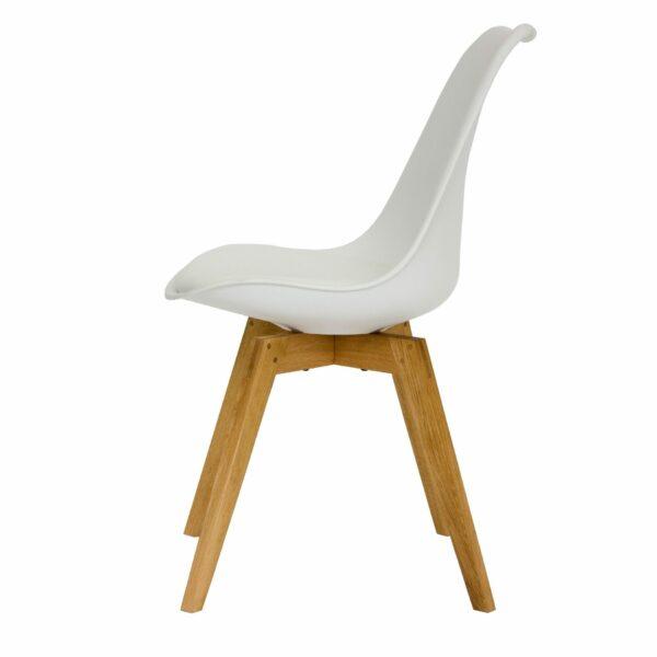 """Trendstore """"C-Bar"""" Stuhl - Sitz und Polsterung weiß, Gestell Eiche, Seitenansicht"""