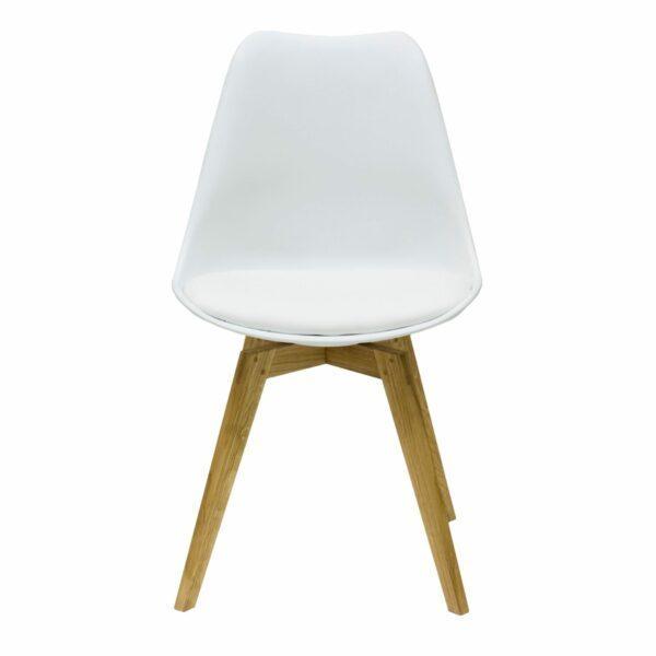 """Trendstore """"C-Bar"""" Stuhl - Sitz und Polsterung weiß, Gestell Eiche, Vorderansicht"""