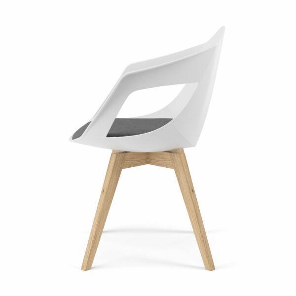 """Trendstore """"C-Bar"""" Stuhl - Sitz weiß, Polsterung grau, Gestell Eiche, Seitenansicht"""