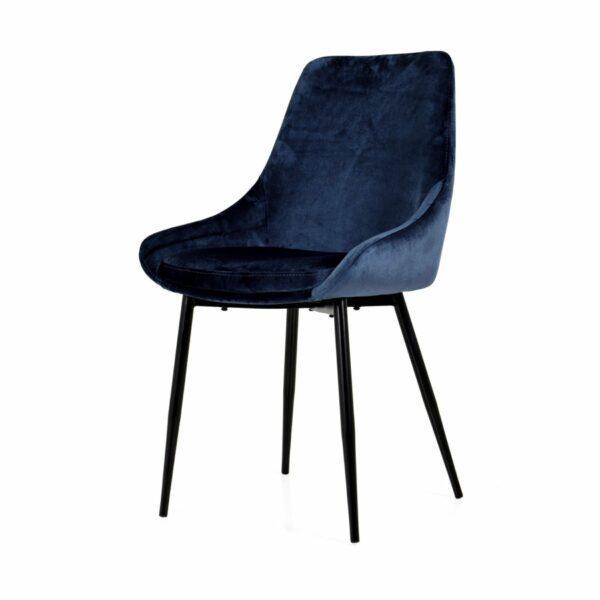 """Trendstore """"Lex"""" Stuhl, Sitz Velour nachtblau, Gestell aus Metall schwarz"""