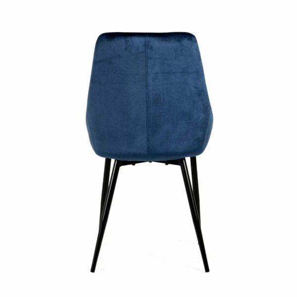 """Trendstore """"Lex"""" Stuhl, Sitz Velour nachtblau, Gestell aus Metall schwarz - Rückansicht"""