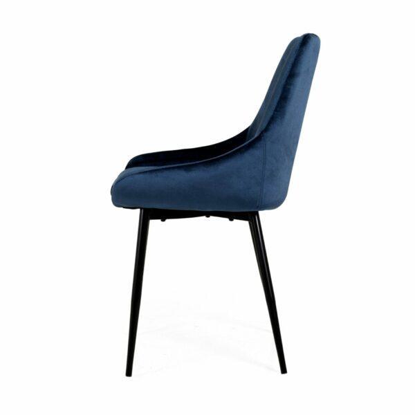 """Trendstore """"Lex"""" Stuhl, Sitz Velour nachtblau, Gestell aus Metall schwarz - Seitenansicht"""