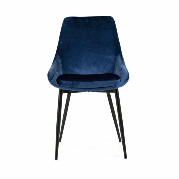 """Trendstore """"Lex"""" Stuhl, Sitz Velour nachtblau, Gestell aus Metall schwarz - Vorderansicht"""