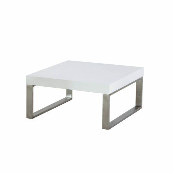 """Trendstore """"Malvan"""" Couchtisch in Weiß, mit einer Breite von 80 cm in seitlicher Ansicht."""