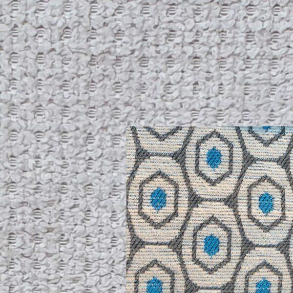 Webstoff Paris 20950 hellgrau mit Rückenkissen Macao 02 grau.
