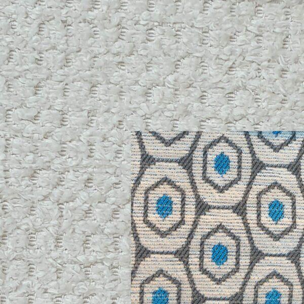 Webstoff Paris 20990 creme mit Rückenkissen Macao 02 grau.