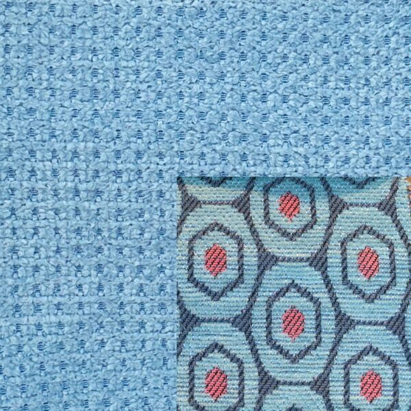 Webstoff Paris 21091 hellblau mit Rückenkissen Macao 03 hellblau.