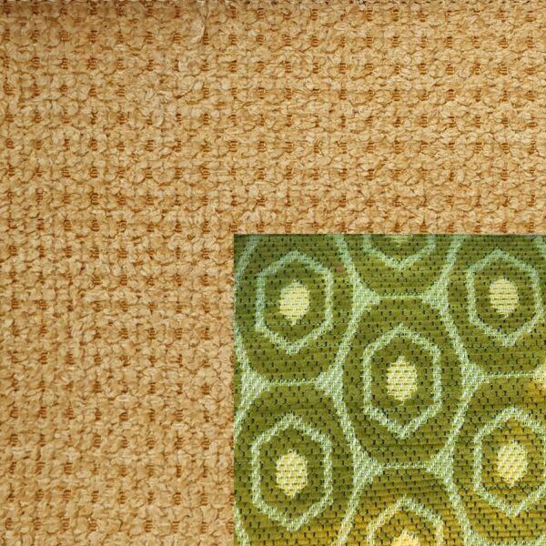Webstoff Paris 21092 mustard mit Rückenkissen Macao 14 grün.