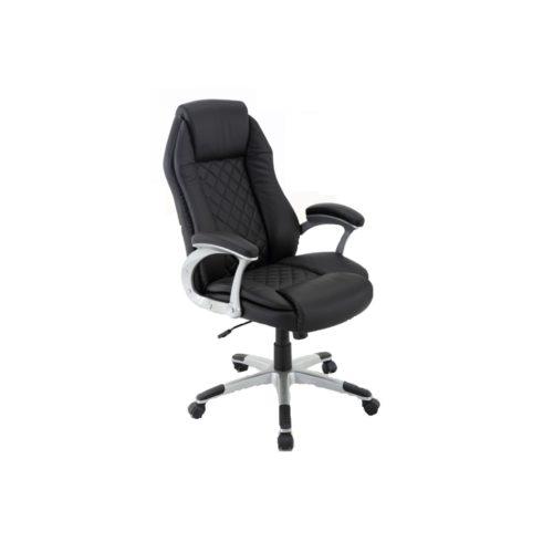 """Trendstore """"Qubiz 100537"""" Bezug Rücken und Sitz aus Leder in Farbe schwarz sowie Korpus und Spannstoff aus Kunstleder und das Gestell in Metall pulverbeschichtet mit Gaslift und stufenlose Sitzhöhenverstellung"""