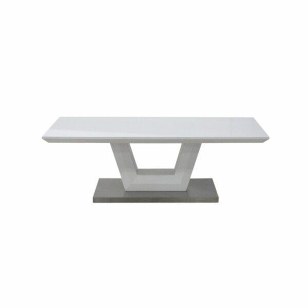 """Trendstore """"Merrit"""" Couchtisch mit Tischplatte und Gestell aus MDF weiß matt und Bodenplatte aus Edelstahl gebürstet Frontansicht"""