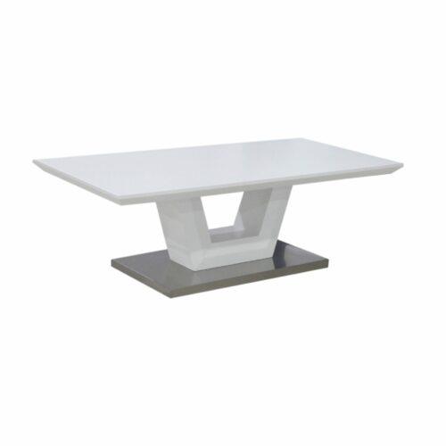 """Trendstore """"Merrit"""" Couchtisch mit Tischplatte und Gestell aus MDF weiß matt und Bodenplatte aus Edelstahl gebürstet seitlich"""