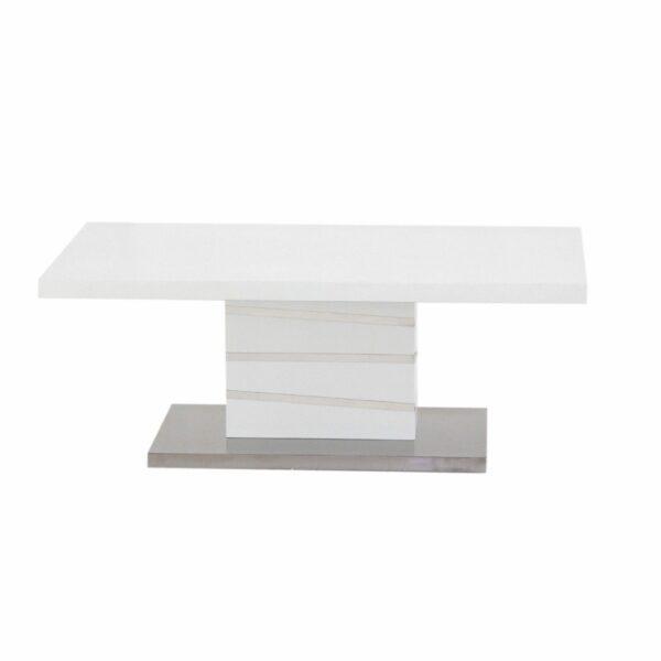 """Trendstore """"Millant"""" Couchtisch mit Tischplatte und Gestell aus MDF weiß matt und Bodenplatte Edelstahl gebürstet Frontansicht"""