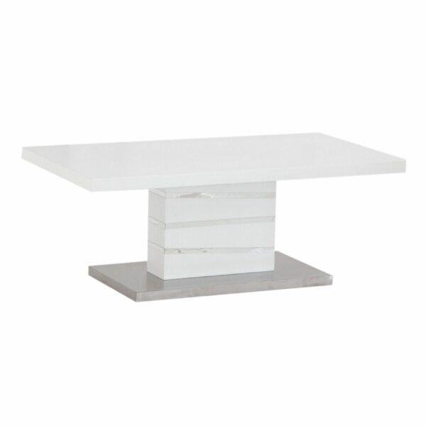 """Trendstore """"Millant"""" Couchtisch mit Tischplatte und Gestell aus MDF weiß matt und Bodenplatte Edelstahl gebürstet seitlich"""
