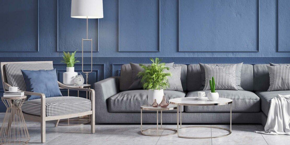 Wohnzimmereinrichtung in Classic Blue