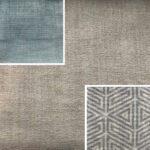 Akador Nürburg Elementgruppe - Sofa Textilgewebe Karma 720 beige, Kissen Textilgewebe Karma 720 beige, Karma 740 blau, Samsara 731 abstrakt grau