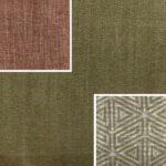 Akador Nürburg Elementgruppe - Sofa Textilgewebe Karma 722 grün, Kissen Textilgewebe Karma 722 grün, Karma 743 rot, Samsara 732 abstrakt grün