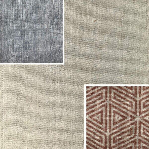Akador Nürburg Elementgruppe - Sofa Textilgewebe Karma 723 beige, Kissen Textilgewebe Karma 723 beige, Karma 741 grau, Samsara 733 abstrakt rot