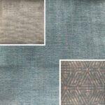 Akador Nürburg Elementgruppe - Sofa Textilgewebe Karma 740 blau, Kissen Textilgewebe Karma 740 blau, Karma 720 beige, Samsara 730 abstrakt blau