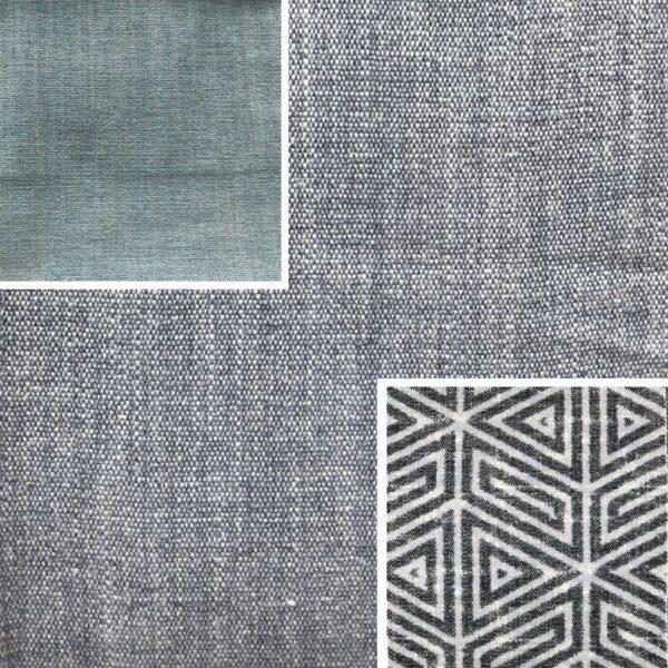 Akador Nürburg Elementgruppe - Sofa Textilgewebe Karma 741 grau, Kissen Textilgewebe Karma 741 grau, Karma 740 blau, Samsara 734 abstrakt schwarz