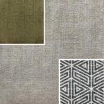 Akador Nürburg Elementgruppe - Sofa Textilgewebe Karma 742 beige, Kissen Textilgewebe Karma 742 beige, Karma 722 grün, Samsara 734 abstrakt schwarz
