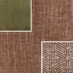 Akador Nürburg Elementgruppe - Sofa Textilgewebe Karma 743 rot, Kissen Textilgewebe Karma 743 rot, Karma 722 grün, Samsara 733 abstrakt rot