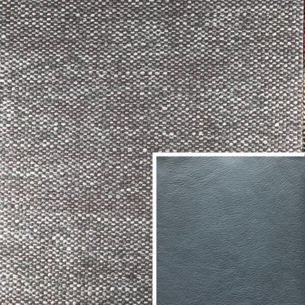 Akador Venezuela Elementgruppe - Sofabezug aus Textilgewebe Longlife Magic angora, Kissen aus Leder Longlife E touch steel